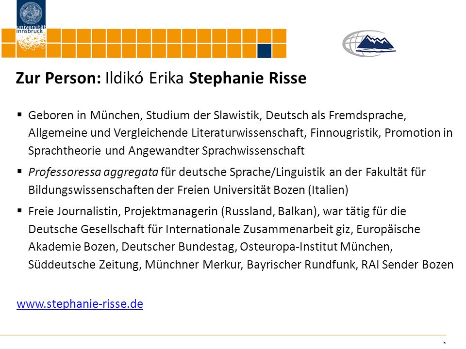 Zur Person: Ildikó Erika Stephanie Risse