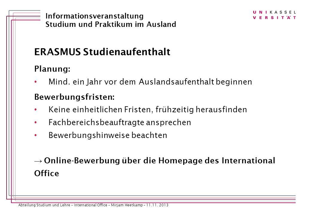ERASMUS Studienaufenthalt