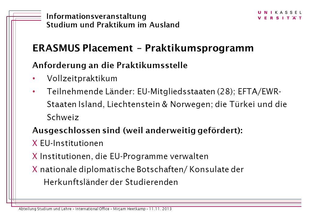 ERASMUS Placement – Praktikumsprogramm