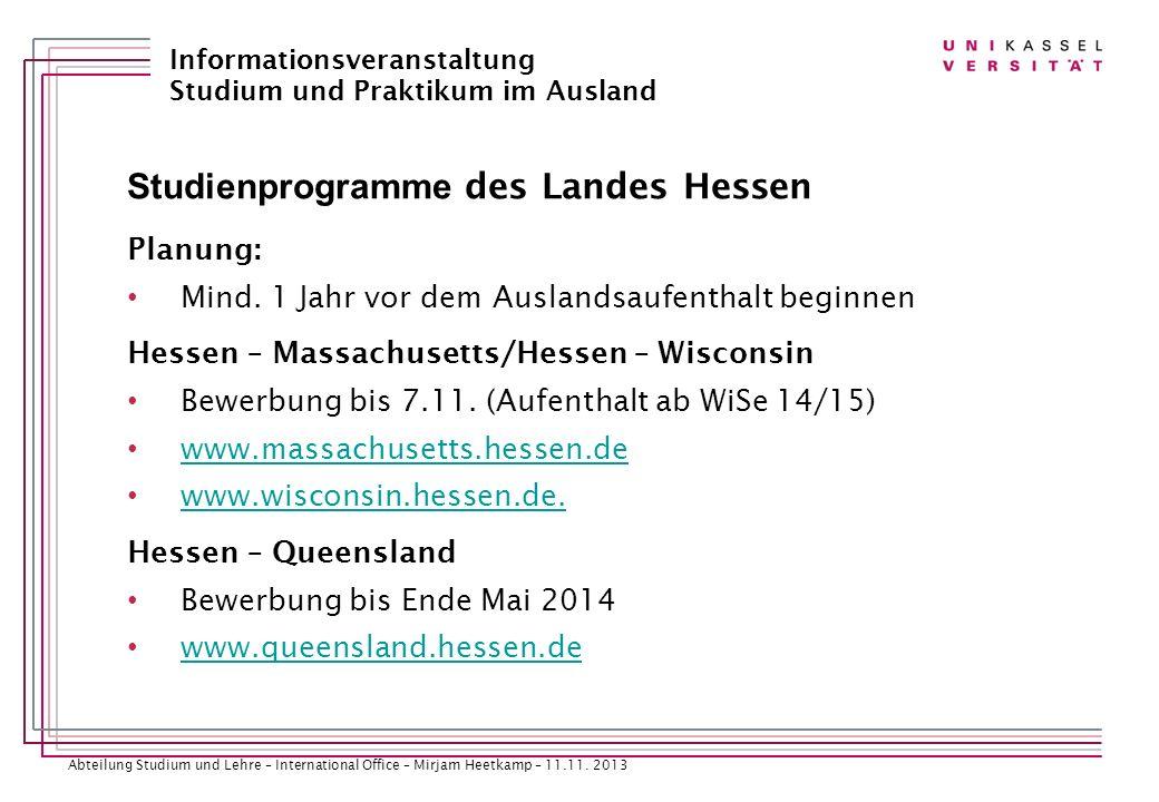 Studienprogramme des Landes Hessen