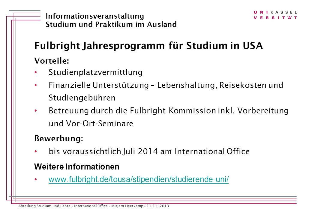 Fulbright Jahresprogramm für Studium in USA