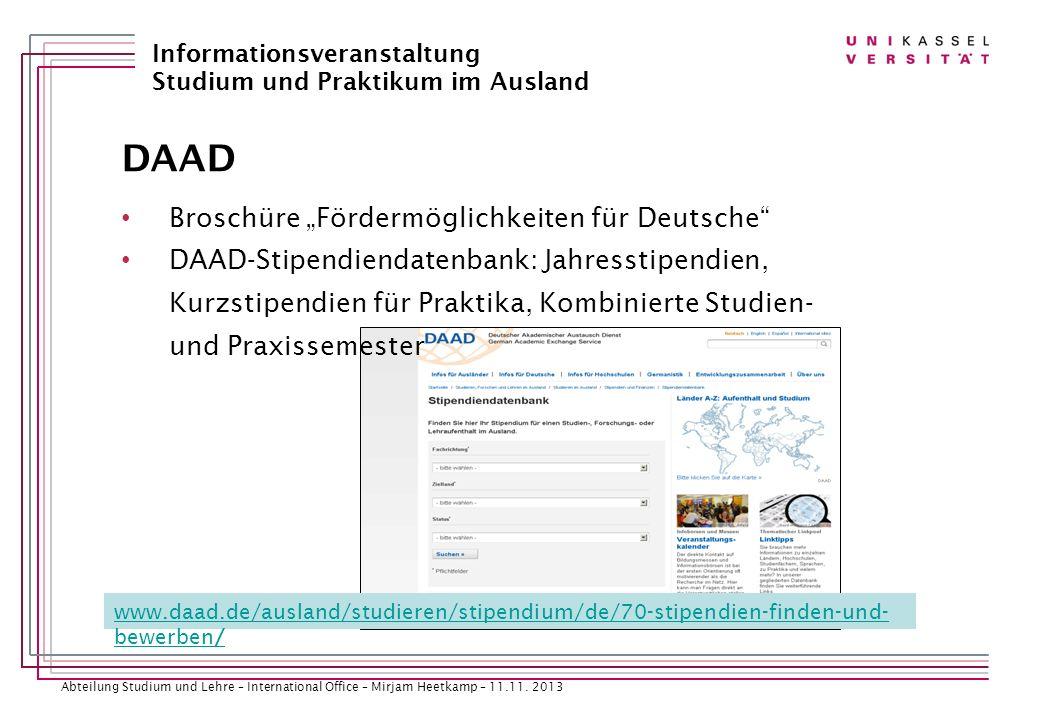 """DAAD Broschüre """"Fördermöglichkeiten für Deutsche"""