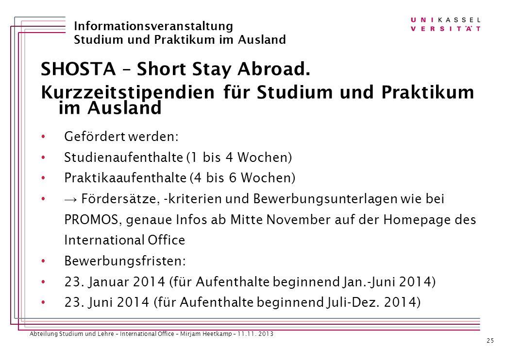 SHOSTA – Short Stay Abroad.