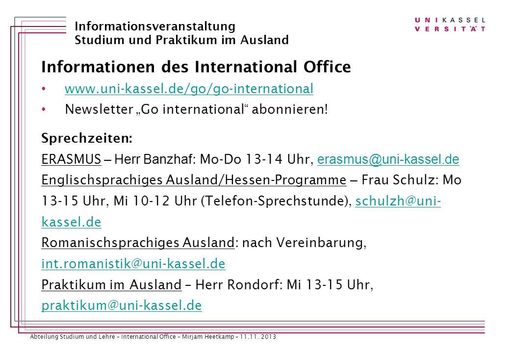 Informationen des International Office