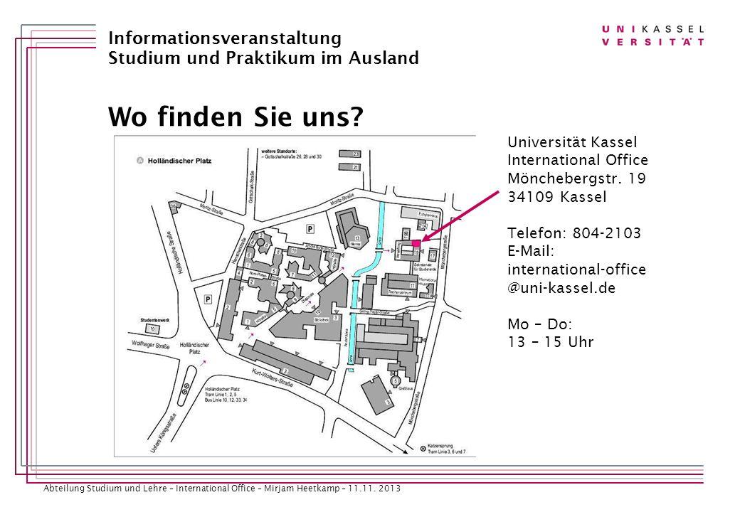 Wo finden Sie uns Universität Kassel International Office