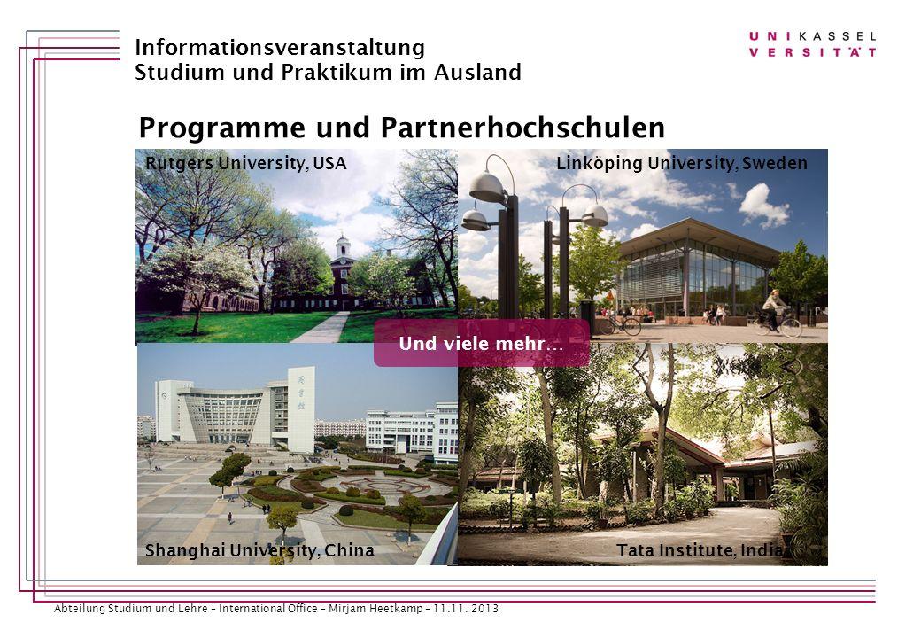 Programme und Partnerhochschulen