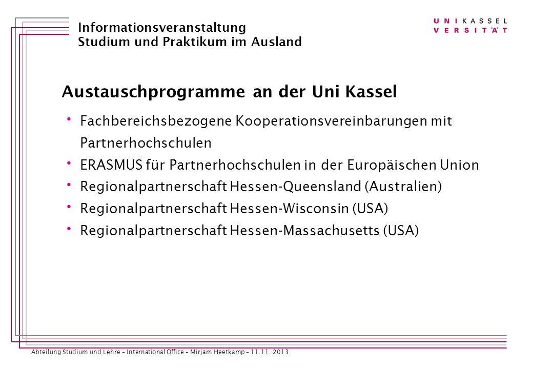 Austauschprogramme an der Uni Kassel