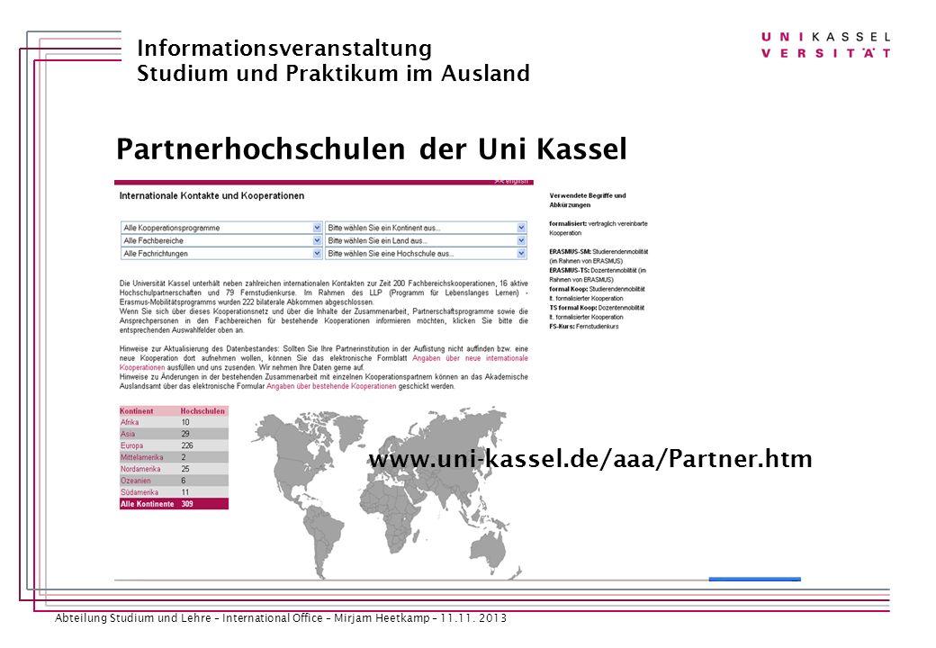 Partnerhochschulen der Uni Kassel