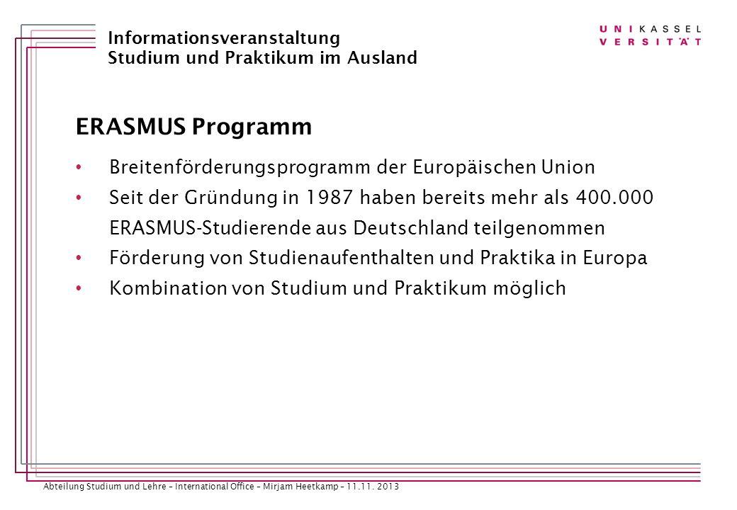 ERASMUS Programm Breitenförderungsprogramm der Europäischen Union
