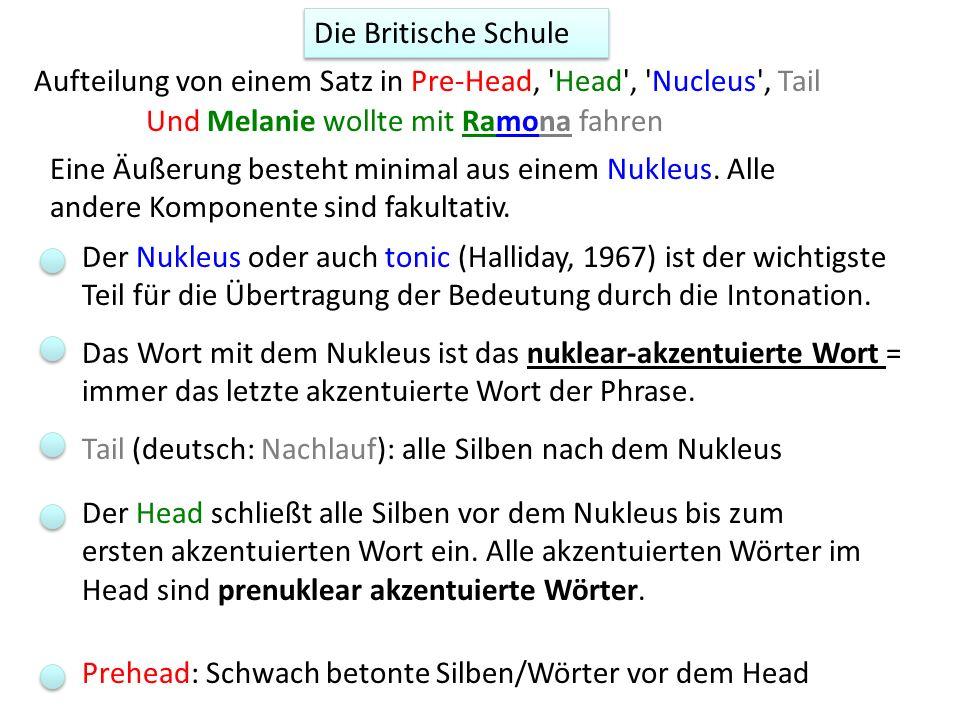 Die Britische Schule Aufteilung von einem Satz in Pre-Head, Head , Nucleus , Tail. Und Melanie wollte mit Ramona fahren.