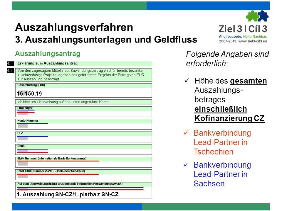 Auszahlungsverfahren 3. Auszahlungsunterlagen und Geldfluss