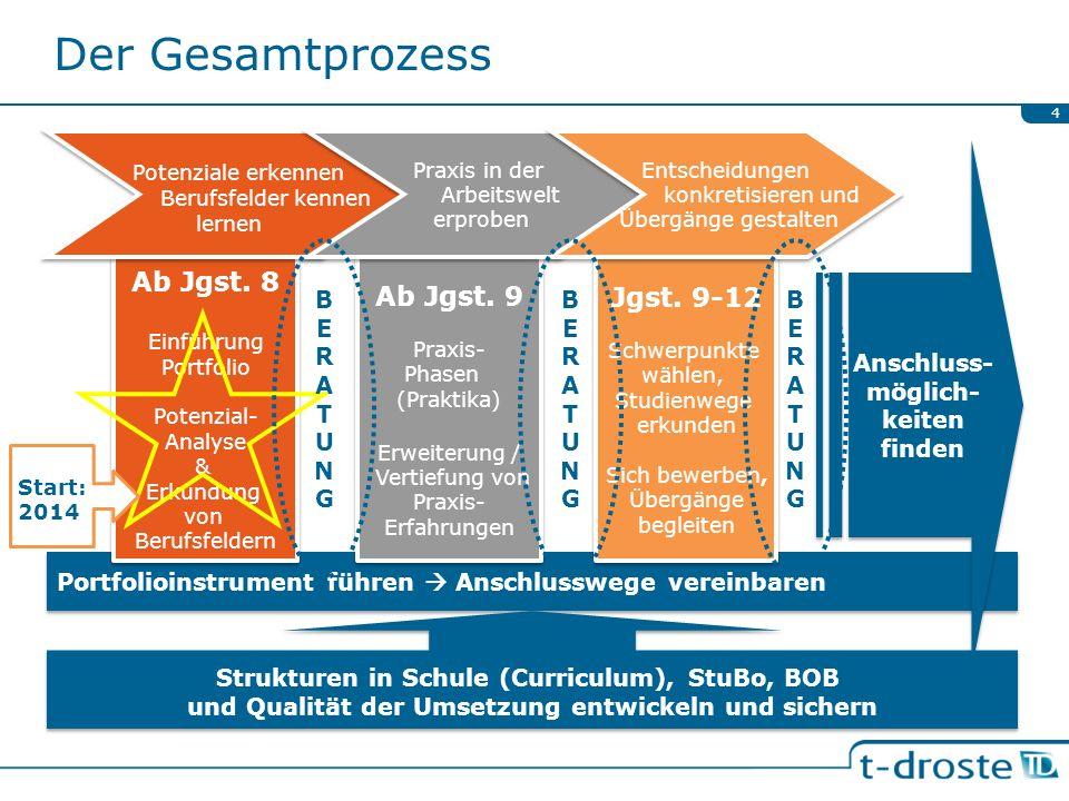 Der Gesamtprozess Potenziale erkennen Ab Jgst. 8 Ab Jgst. 9 Jgst. 9-12
