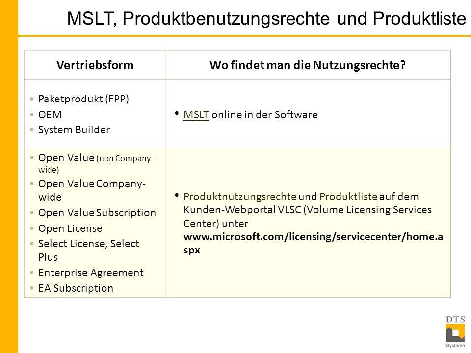 MSLT, Produktbenutzungsrechte und Produktliste