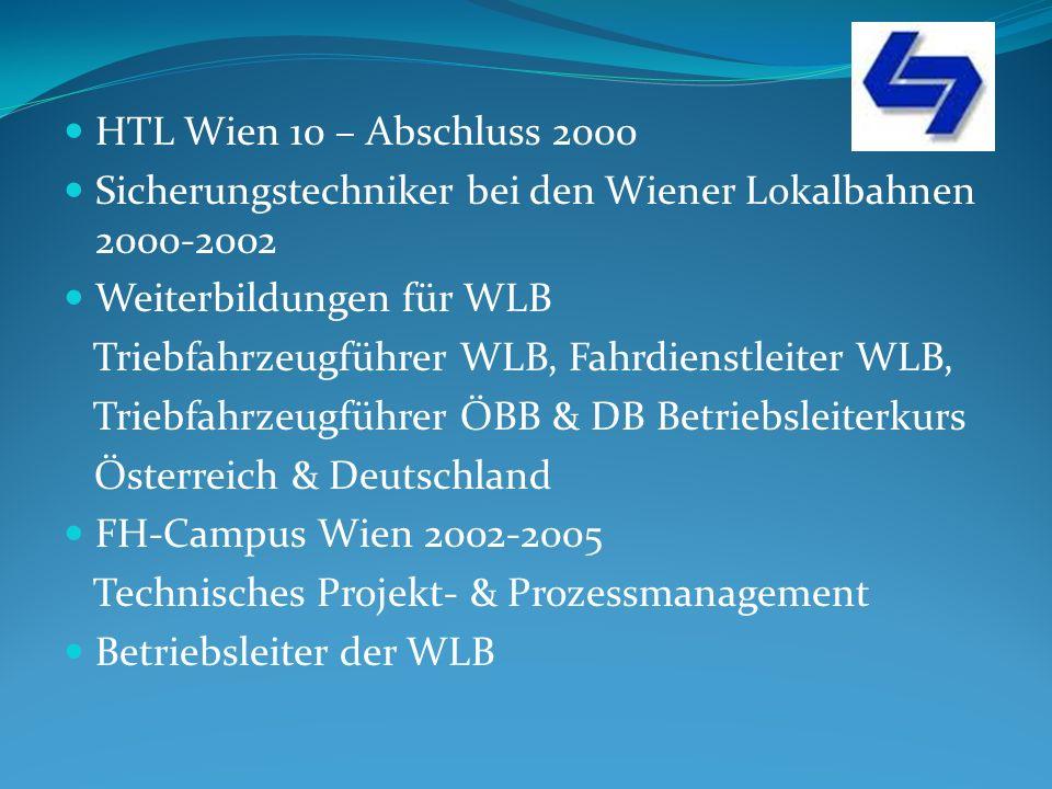 HTL Wien 10 – Abschluss 2000 Sicherungstechniker bei den Wiener Lokalbahnen 2000-2002. Weiterbildungen für WLB.