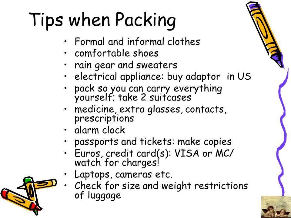 Tips when Packing Formal and informal clothes comfortable shoes