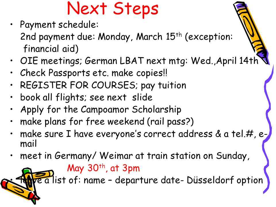 Next Steps Payment schedule:
