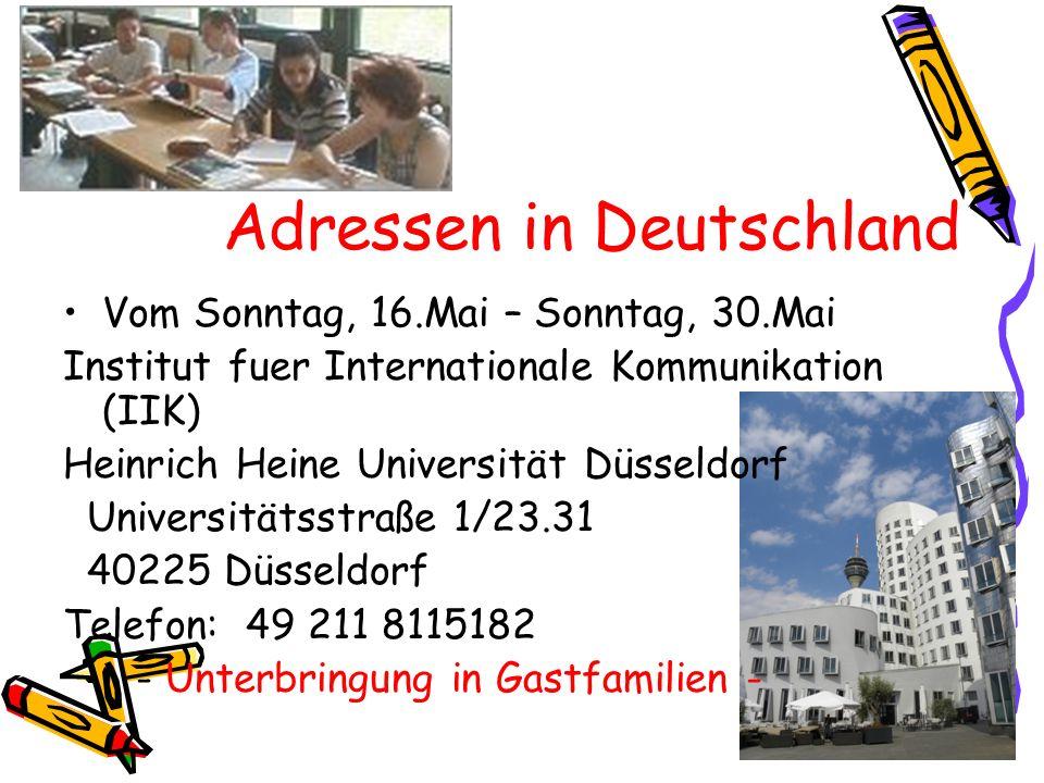 Adressen in Deutschland