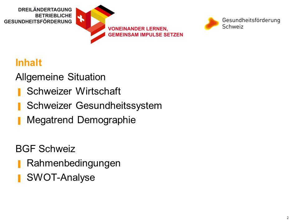 Inhalt Inhalt. Allgemeine Situation. Schweizer Wirtschaft. Schweizer Gesundheitssystem. Megatrend Demographie.
