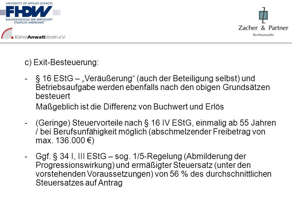 c) Exit-Besteuerung: