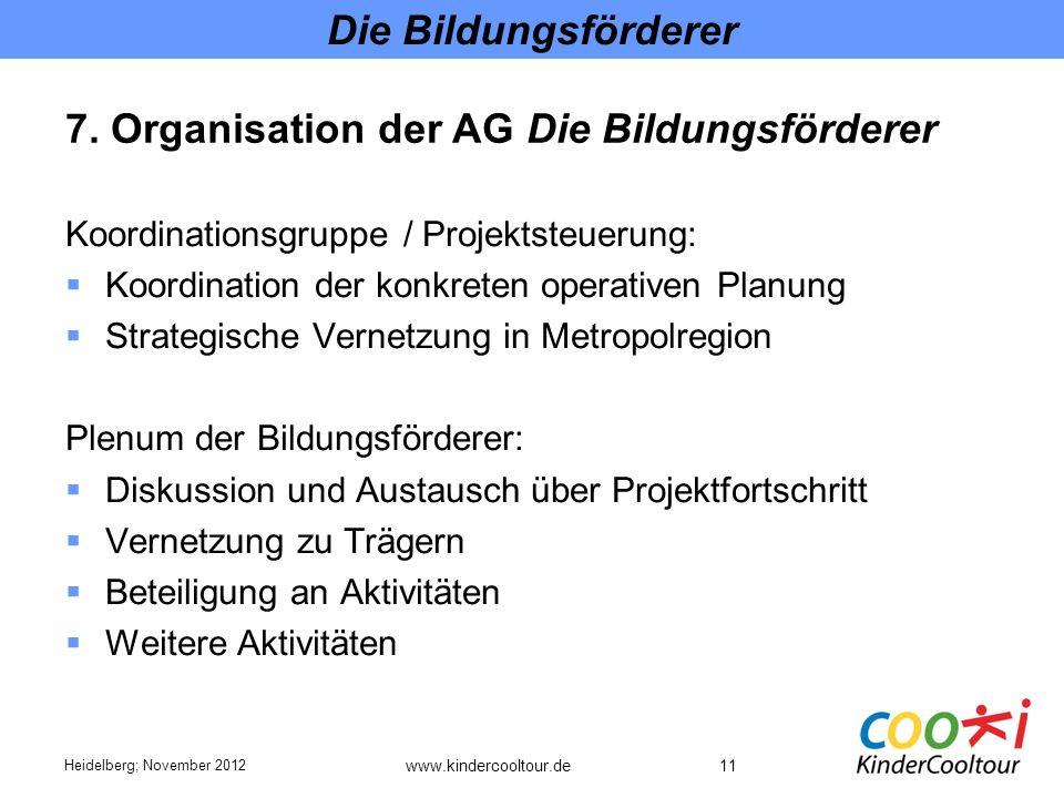 7. Organisation der AG Die Bildungsförderer