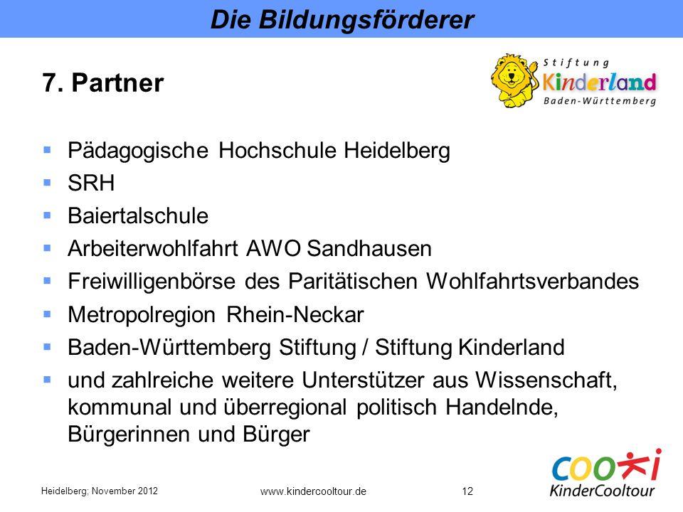 Die Bildungsförderer 7. Partner Pädagogische Hochschule Heidelberg SRH