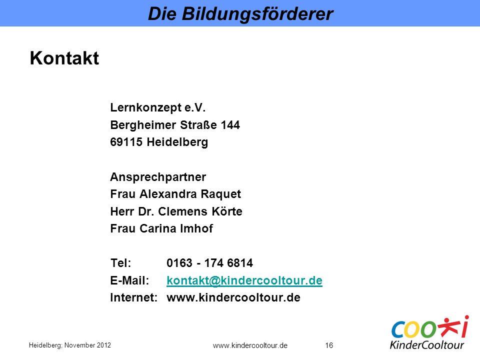 Die Bildungsförderer Kontakt Lernkonzept e.V. Bergheimer Straße 144