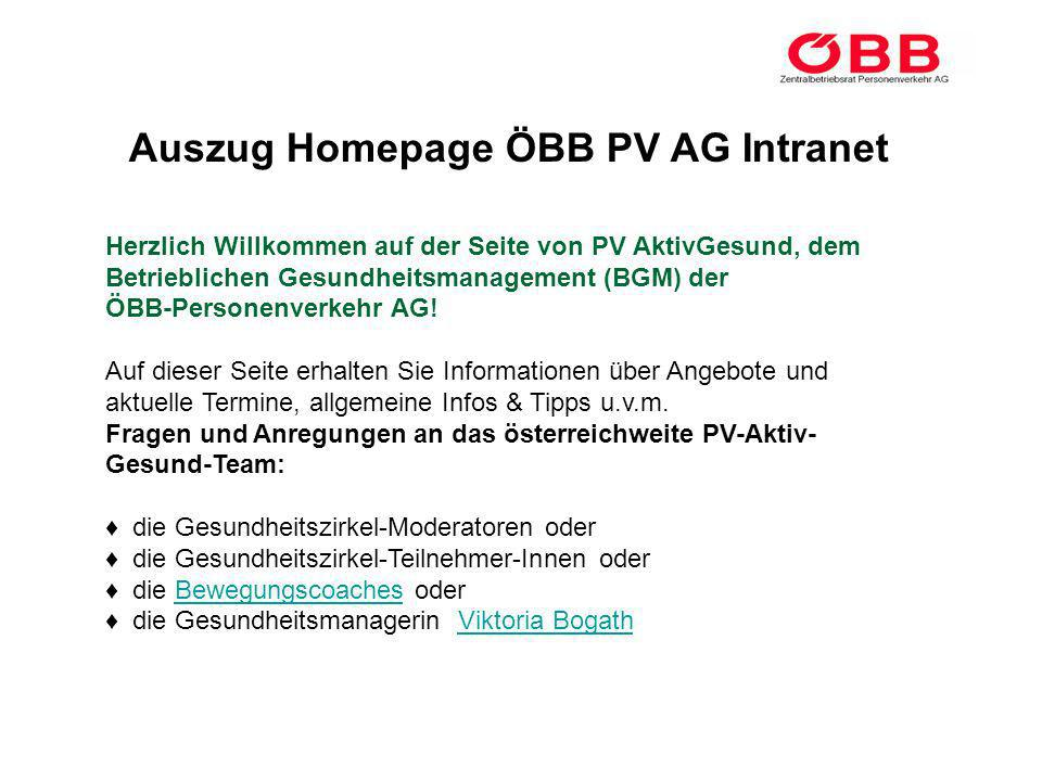 Auszug Homepage ÖBB PV AG Intranet