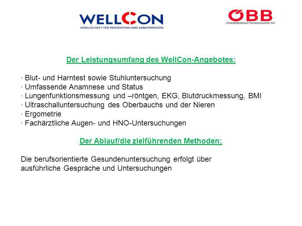 Der Leistungsumfang des WellCon-Angebotes: