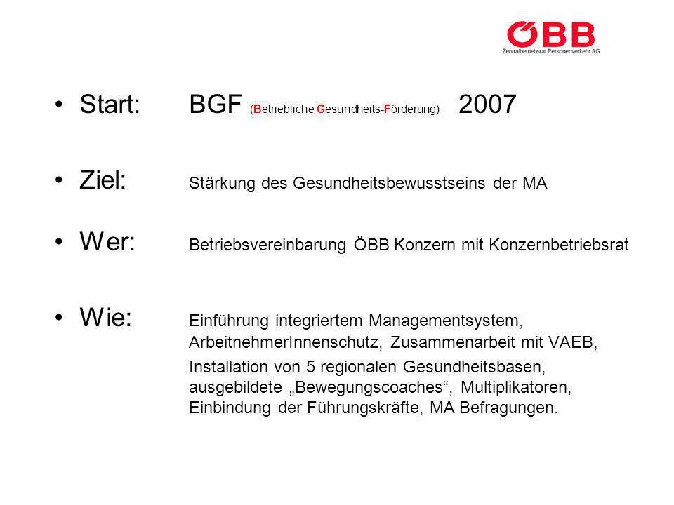 Start: BGF (Betriebliche Gesundheits-Förderung) 2007