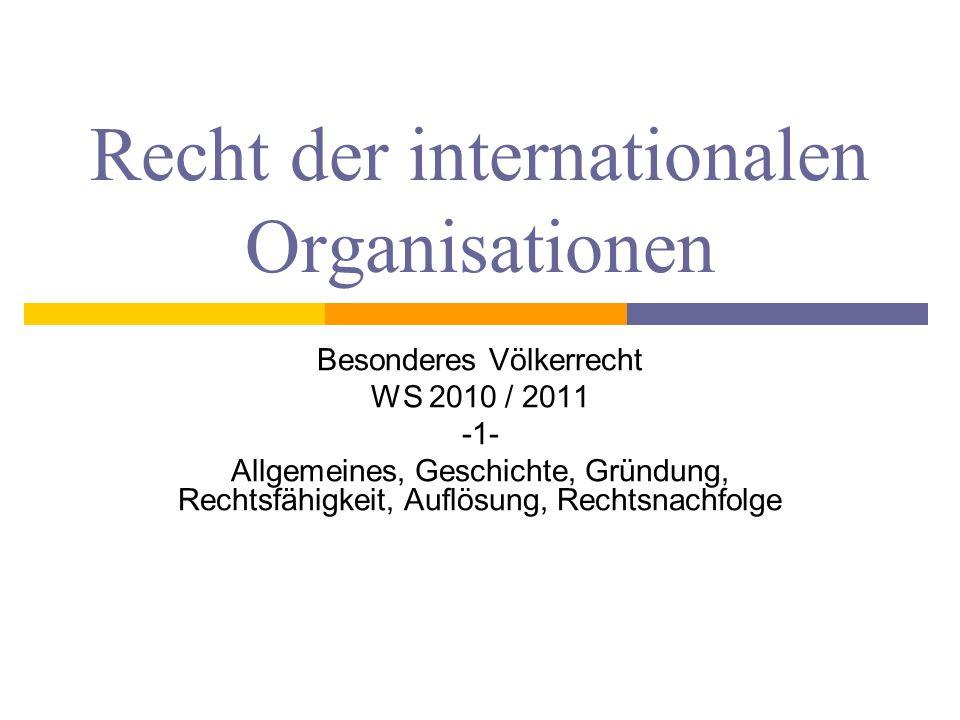 Recht der internationalen Organisationen