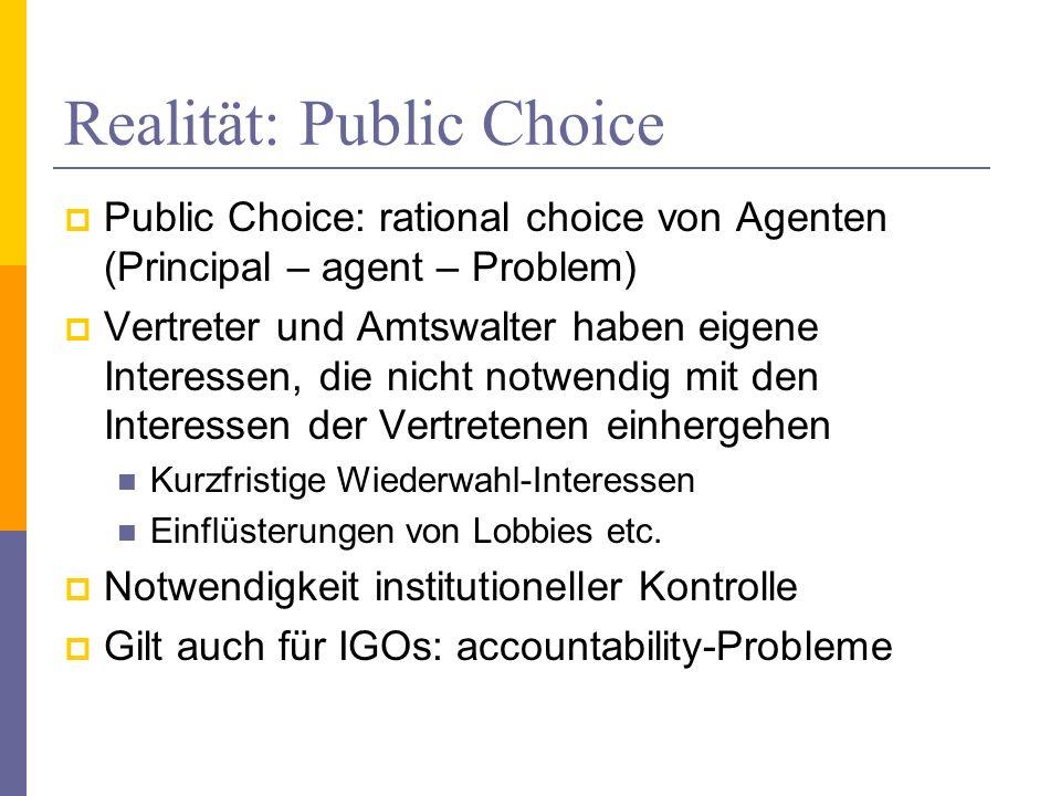 Realität: Public Choice