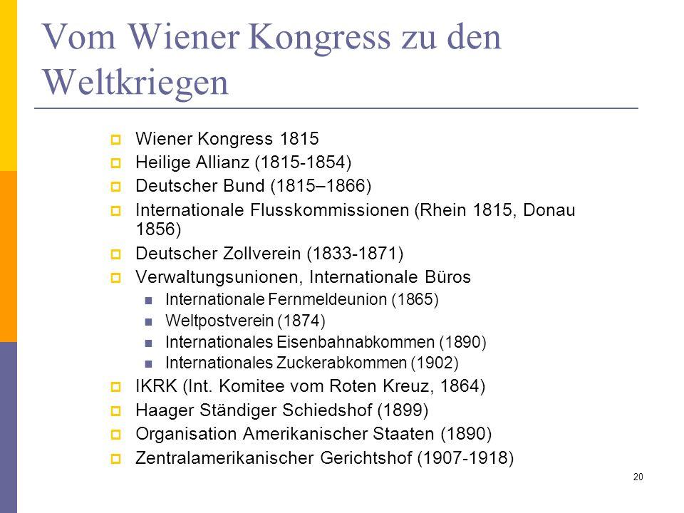 Vom Wiener Kongress zu den Weltkriegen