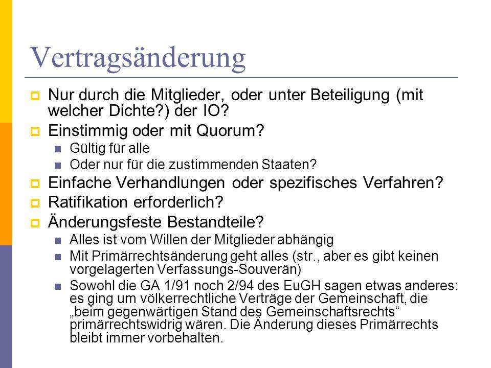 Vertragsänderung Nur durch die Mitglieder, oder unter Beteiligung (mit welcher Dichte ) der IO Einstimmig oder mit Quorum