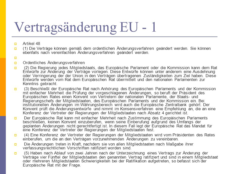 Vertragsänderung EU - 1 Artikel 48