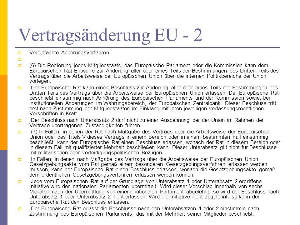 Vertragsänderung EU - 2 Vereinfachte Änderungsverfahren