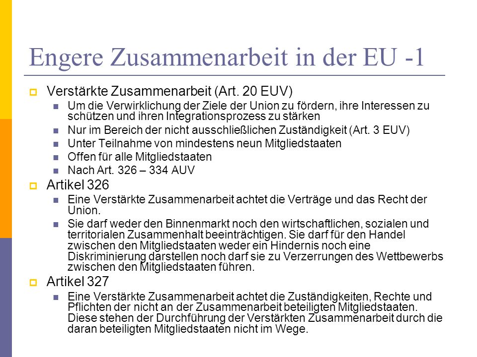 Engere Zusammenarbeit in der EU -1