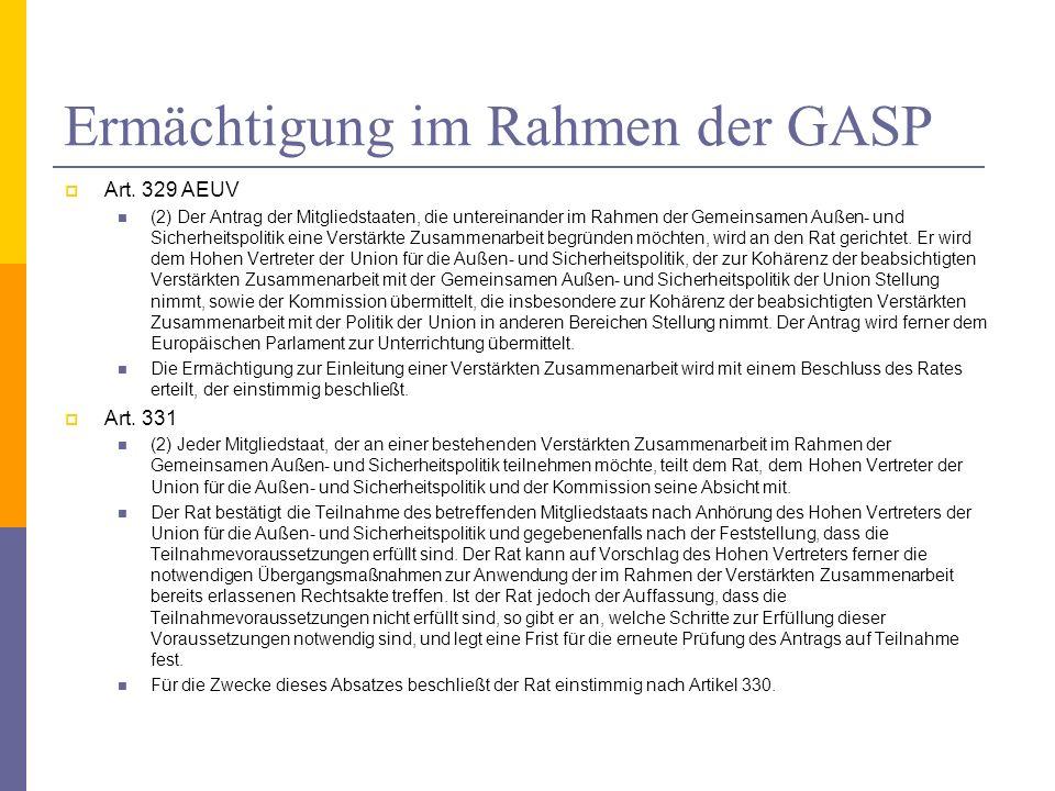 Ermächtigung im Rahmen der GASP