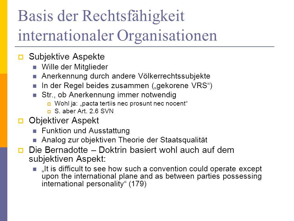 Basis der Rechtsfähigkeit internationaler Organisationen