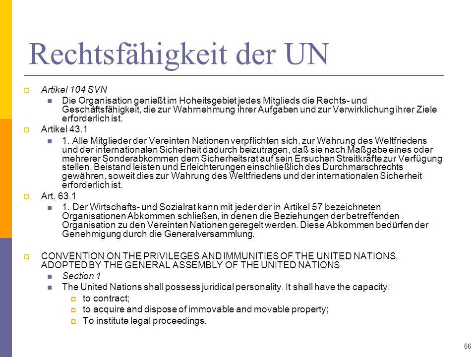 Rechtsfähigkeit der UN