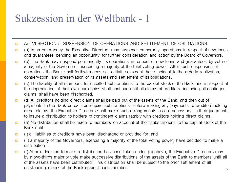 Sukzession in der Weltbank - 1