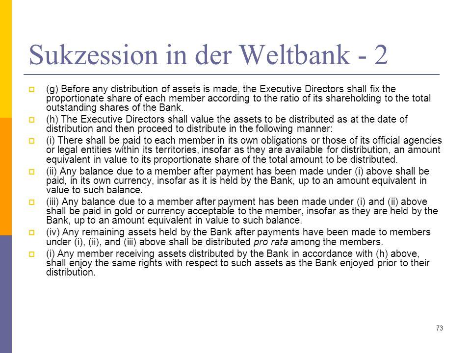 Sukzession in der Weltbank - 2