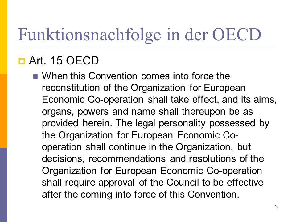 Funktionsnachfolge in der OECD