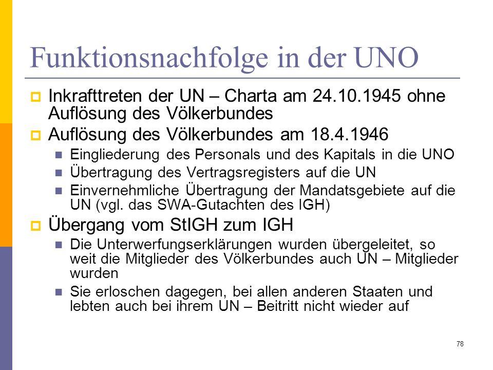 Funktionsnachfolge in der UNO