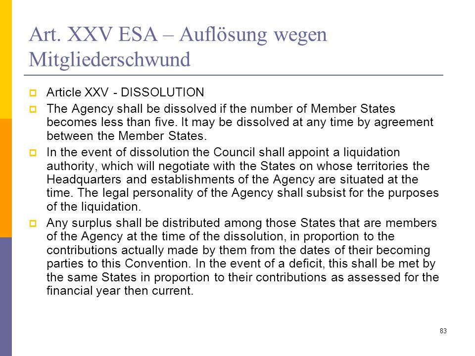 Art. XXV ESA – Auflösung wegen Mitgliederschwund
