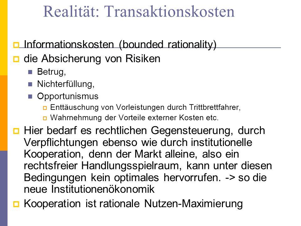 Realität: Transaktionskosten