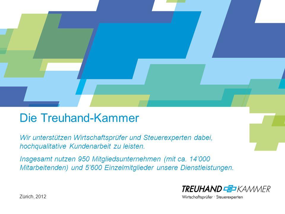 Die Treuhand-Kammer Wir unterstützen Wirtschaftsprüfer und Steuerexperten dabei, hochqualitative Kundenarbeit zu leisten. Insgesamt nutzen 950 Mitgliedsunternehmen (mit ca. 14'000 Mitarbeitenden) und 5'600 Einzelmitglieder unsere Dienstleistungen.
