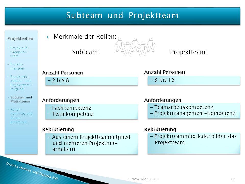 Subteam und Projektteam