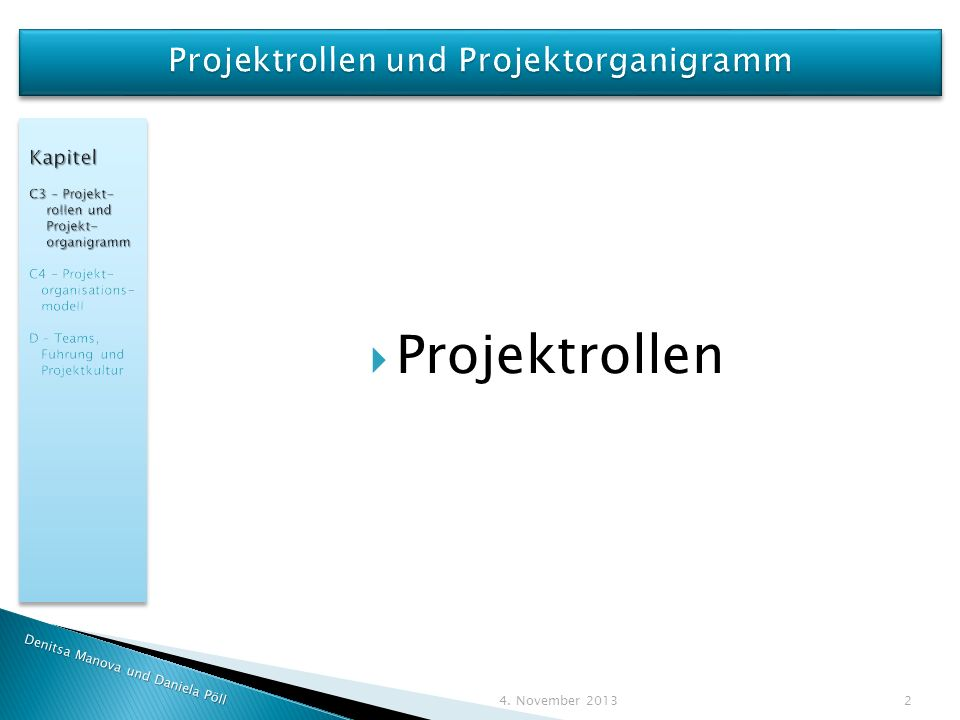 Projektrollen und Projektorganigramm