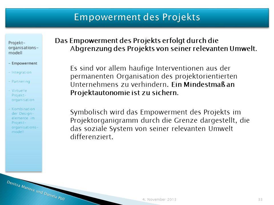 Empowerment des Projekts
