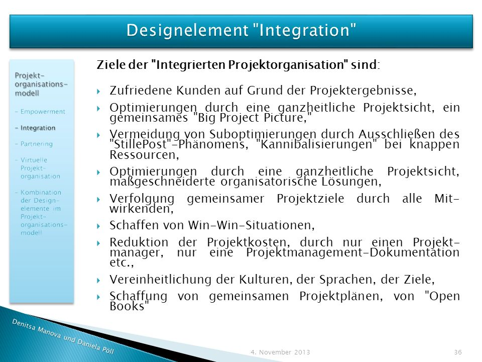 Designelement Integration